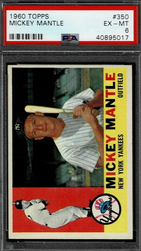 1960 Topps Mickey Mantle Baseball Card Yankees Batting Card # 350