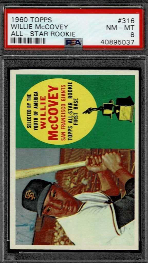 1960 Topps Willie McCovey Baseball Card Giants Rookie Card # 316