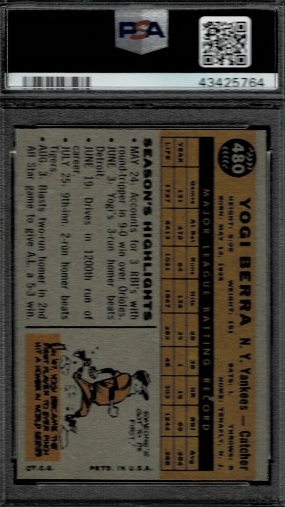 1960 Topps Yogi Berra Baseball Card Yankees Catcher Card # 480 Back