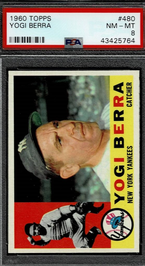 1960 Topps Yogi Berra Baseball Card Yankees Catcher Card # 480
